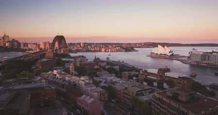 Aerial view of Sydney with Harbour Bridge and the Opera House, Australia