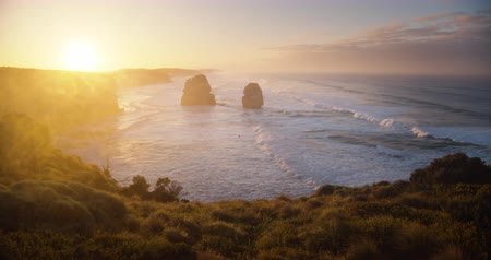 Twelve Apostles, sunrise time, Australia 動画素材