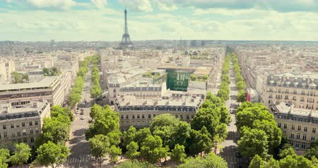panoramic view of Paris, Champs Elysees and the Eiffel Tower Wideo