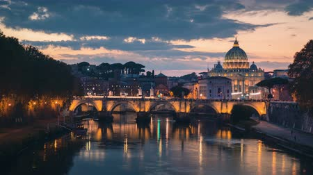 hyper lapse of St. Peters Basilica, Sant Angelo Bridge, Vatican, Rome, Italy