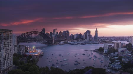 sunset, time lapse of Sydney harbor, New South Wales, Australia