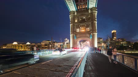 hyper lapse, Car traffic at Tower bridge, night in London, UK