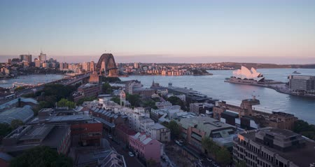 dark bay : Aerial view of Sydney with Harbour Bridge, Australia