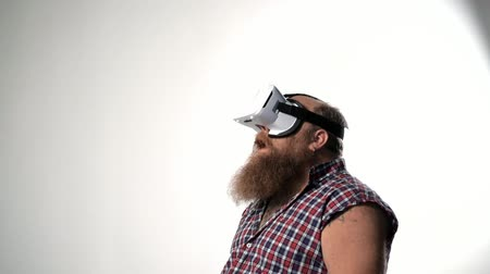 Male thick hipster watching vr device