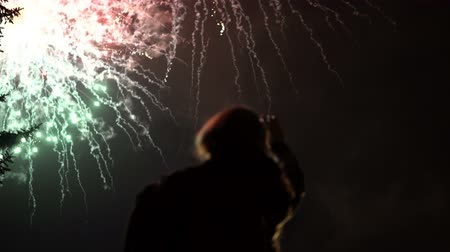 közönség : The girl takes pictures of fireworks on a mobile phone. Silhouette on the background of the sky illuminated by lights.