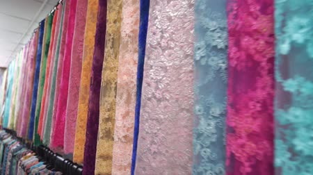 kumaş : Dolly shots of beautiful lace lined showroom, colorful Stok Video
