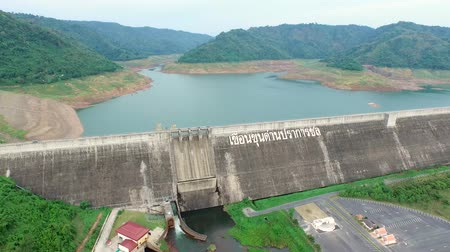 baraj : Aerial View of Khun Dan Prakan Chol Dam with less water in summer, Nakhon Nayok, Thailand