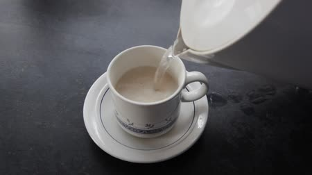 teabag : Teacup being filled with boiling water.