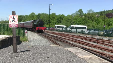 train station : Steam train running on a preserver line. Stock Footage