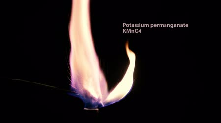 magnesium oxide : Different colored flames of burning salts. Sodium chloride, potassium permangate, copper sulphate and magnesium oxide salts combusting in Bunsen burner flame