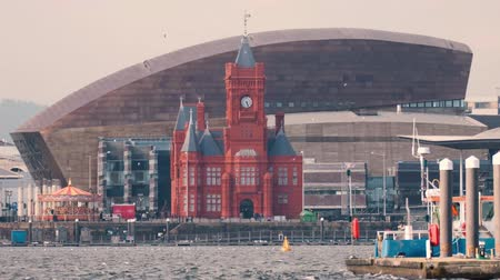 terracota : Cardiff Bay Seafront with National Assembly for Wales. Pierhead Building and Wales Millenium Centre with the Assembly complex in Cardiff Bay, Wales, UK
