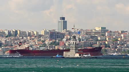 運輸 : Red cargo ship moves in front of Istanbul city