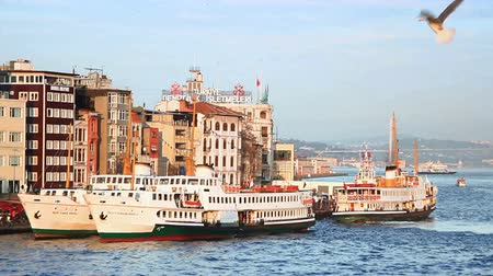 keleti : Karakoy Port with berthed ferries and gulls