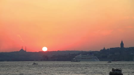 time journey : Istanbul Harbor at Sunset. Timelapse Stock Footage