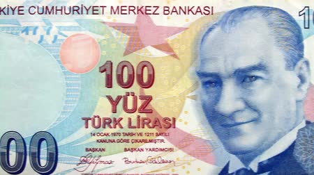 lira : Turkish Banknote. Camera pans left to right over 100 Lira Banknote.