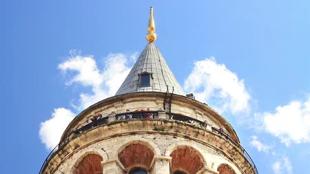 купол : Historical Galata Tower in Istanbul, Turkey. Balcony of the Tower Стоковые видеозаписи