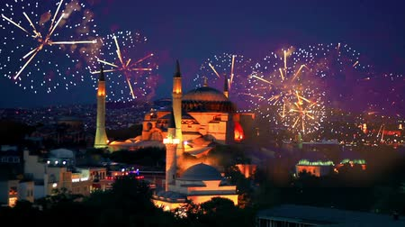 orta : Hagia Sophia, Istanbul New Year Eve. Amazing fireworks all around the city Stok Video