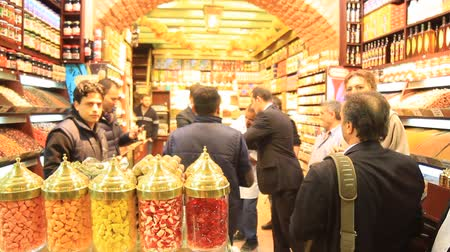 senhor : ISTANBUL - NOV 30: Mustafa SARIGUL mayor of Sisli district visits Spice Market on November 30, 2013 in Istanbul. Mr. Sarigul who recently joined the CHP, declared his candidacy for Istanbul Metropolis. Sarigül held the coveted Sisli municipal seat for  Stock Footage