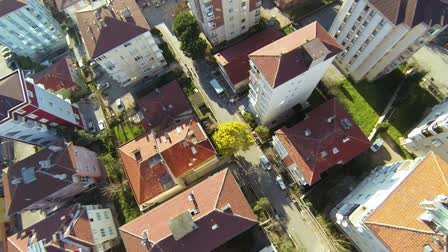 sociedade : Residential housing community. Flyover shot over suburbs of Istanbul from the quad drone.