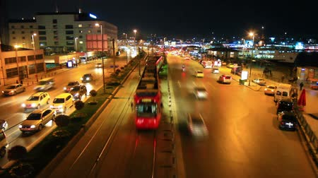 car traffic : End of the day at Eminonu. Time Lapse. Car traffic at night in Istanbul Harbor. Stock Footage