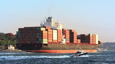 shipping : Cargo ship full of containers sailing from Black Sea. Container Transportation