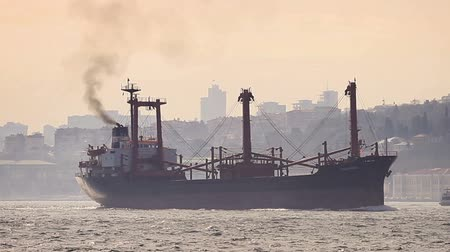 fumo : Marine air pollution. Istanbul in smog with a cargo ship