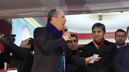 vita : ISTANBUL - MARCH 16, 2014: CHP deputy parliamentary Muharrem Ince gives a speech. Republican People's Party (CHP) meeting