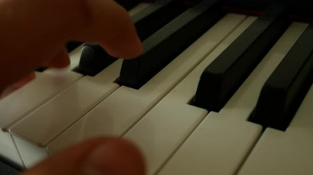 jazz : Male left hand presses piano keys. Piano playing. Musical theme. Close up of man hands playing the piano in slow motion. Music lesson. Studing music Stock Footage