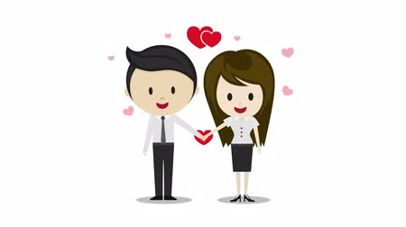 valentin nap : Cute couple in love holding hands cartoon characters animation