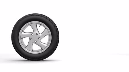yuvarlanma : Wheel passing from left to right on white background
