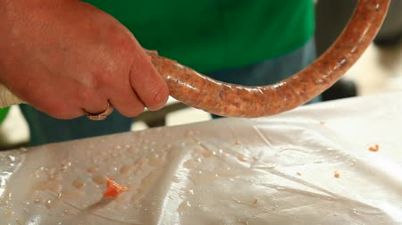 kiełbasa : Traditional way of sausage making process in Transylvania, Romania