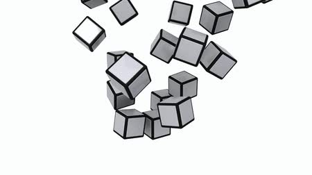 nesnelerin grubu : 3x3 cube parts flying down and forming an assembled cube