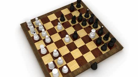 xadrez : Chess check mate seen from raising and rotating camera Vídeos