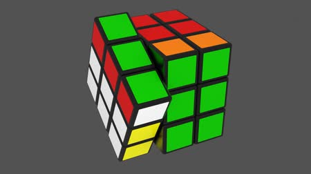 kocka : Rubik cube assembly animation. Alpha channel included