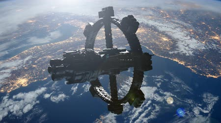 Space Station Orbiting Earth. Стоковые видеозаписи