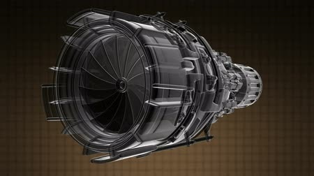 tryska : rotate jet engine turbine of plane, aircraft concept, aviation and aerospace industry