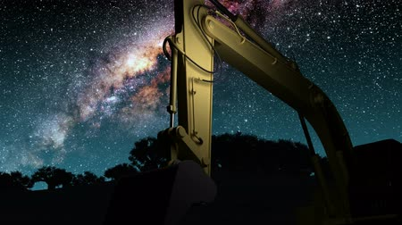 экскаватор : yellow excavator and Milky Way stars at night. Стоковые видеозаписи