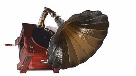 grammophone : Vintage Gramophone rotate on white background