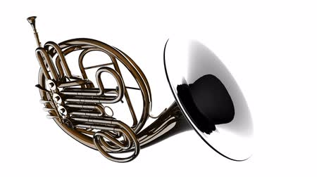 alfa : french horn rotate on white background