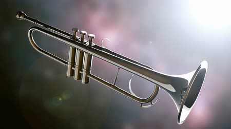 woodwind : brass trumpet on bokeh background with light Stock Footage