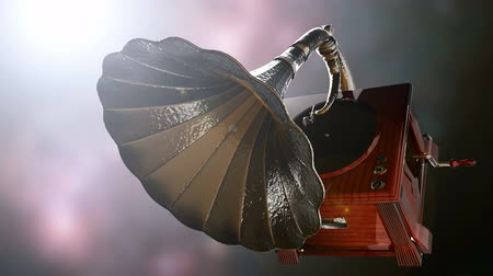 grammophone : Vintage Gramophone rotate on bokeh background with light