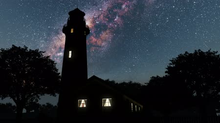 világítótorony : lighthouse and Milky Way stars at night. Stock mozgókép