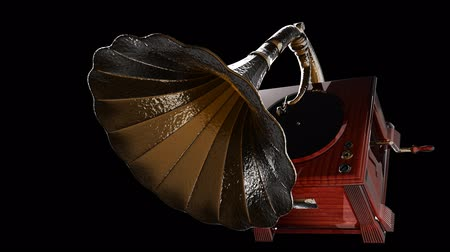 grammophone : Vintage Gramophone on black background Stock Footage