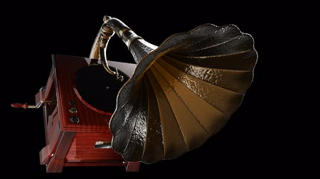 grammophone : Vintage Gramophone rotate on black background Stock Footage
