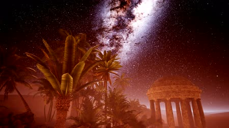 aurelian : Ancient Roman time in the desert and Milky Way stars Stock Footage