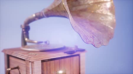 grammophone : 4K Super slow motion Vintage Gramophone rotate Stock Footage
