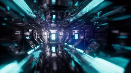 unlocking : Computer generated ride in a spaceship tunnel Stock Footage