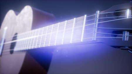blues music : classic guitar on blue background Stock Footage