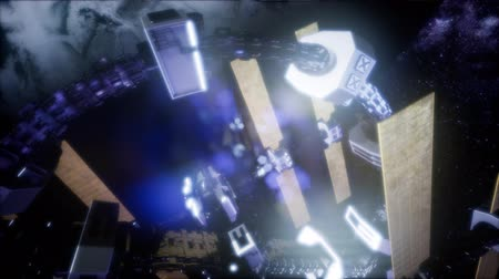 spaceship : 4k Flight Of The International Space Station Above the Earth.