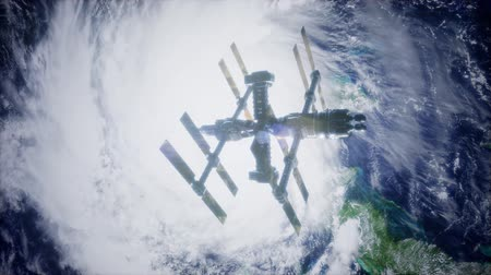 international space station : 4k Flight Of The International Space Station Above the Earth.